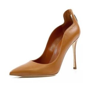 Sergio Rossi Blink Chestnut Cutout Leather Pumps 9